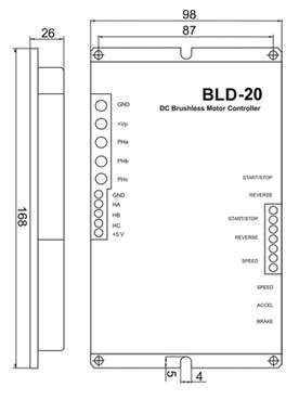 Габаритные размера блока управления бесколлекторным двигателем BLD