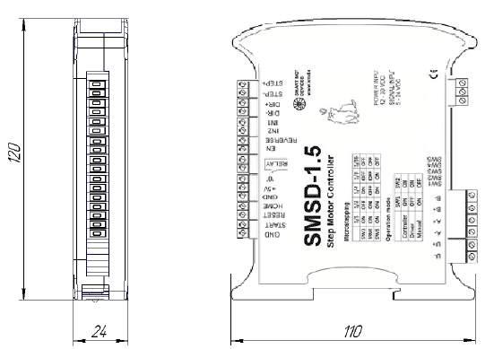 Габаритные размера блока управления шаговыми двигателями SMSD-1.5 с интерфейсом RS-232 или RS-485