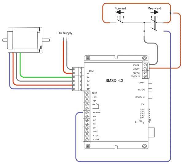 Пример подключения для реверсивного управления в ручном режиме - Джойстик (без использования диодов)