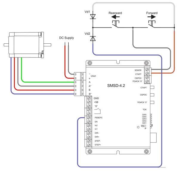 Пример подключения для реверсивного управления в ручном режиме - Джойстик (с использованием диодов)