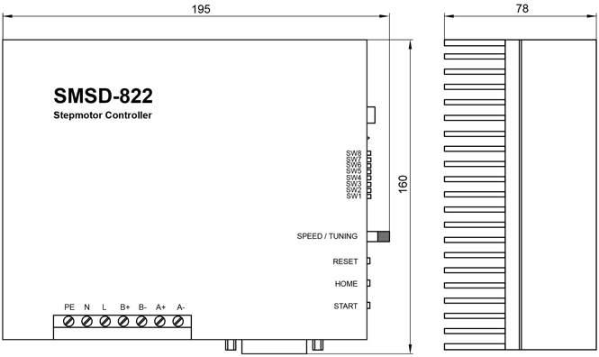 Размеры блока управления шаговыми двигателями SMSD-822