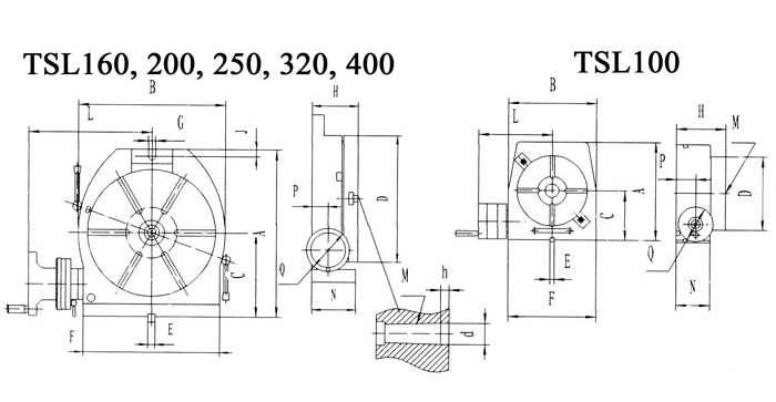 ТИП 5040 TSL 100 - 800 мм СТОЛЫ ПОВОРОТНЫЕ ГОРИЗОНТАЛЬНО-ВЕРТИКАЛЬНЫЕ схема