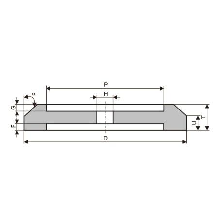 Круги шлифовальные с двусторонней выточкой (тип 7-С)