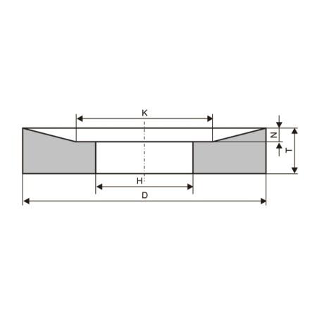 Круги шлифовальные с односторонней конической выточкой (тип 21)