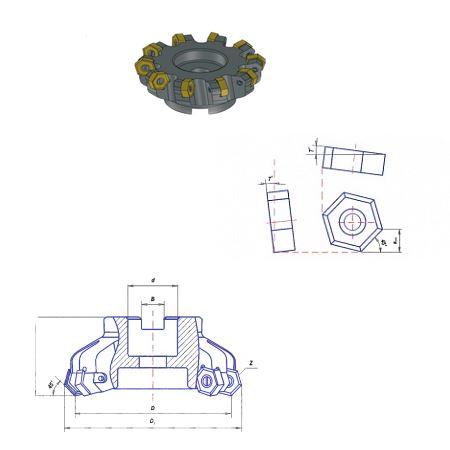 Фрезы торцовые насадные c механическим креплением пластин. Угол в плане 45 градусов
